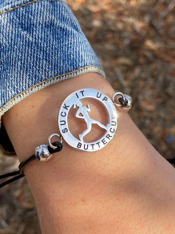 Inspirational Runner Girl Mantra Bracelet - Suck It Up Buttercup - Moonstone MantraWear