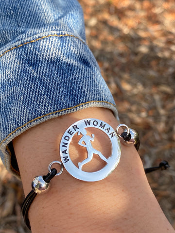 Inspirational Runner Girl Mantra Bracelet - Wander Woman - Moonstone MantraWear