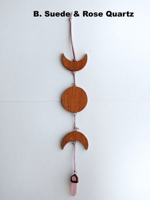 Cherry Wood 3 Moon Phases Suncatcher With Crystal