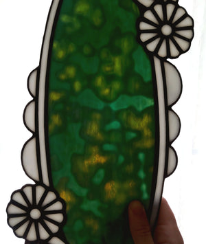 Glass Stone Bezel with Flowers