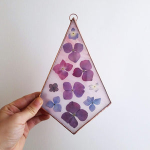 Pressed Hydrangeas Wall Hanging