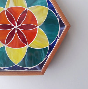 Rainbow Seed of Life Mosaic Tray