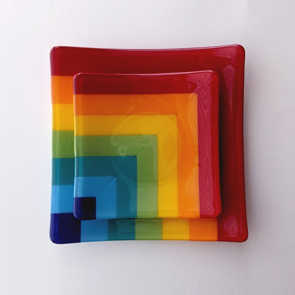 Fused Glass Square Plates (Seconds)