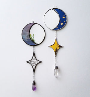 Crescent Moon Mirror Wall Hanging