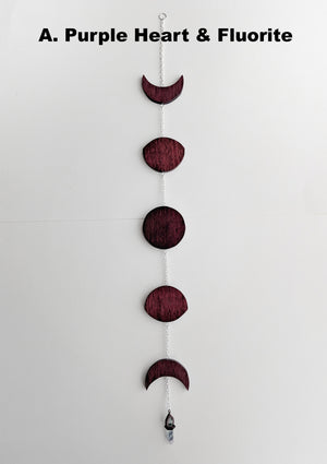 Wooden 5 Moon Phases Suncatcher