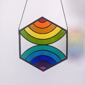 Converging Rainbows Hexagon Suncatcher