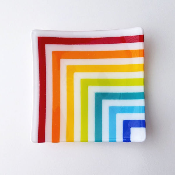 Fused Glass Square Plate - Rainbow & White Stripes