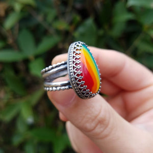Rainbow Teardrop Ring