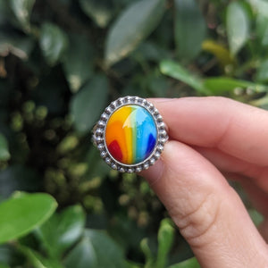 Rainbow Ring with Silver Accents