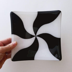 Small Fused Glass Square Plate - Black & White Swirl