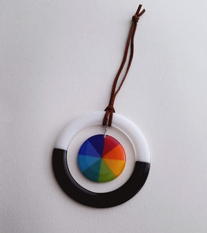 Fused Glass Rainbow Wheel Wall Hanging