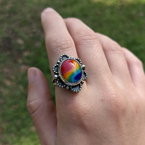 Scalloped Rainbow Ring