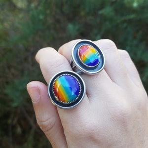Shadowbox Oval Rainbow Ring
