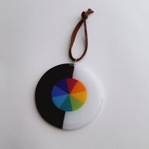 Fused Glass Rainbow Wheel Suncatcher