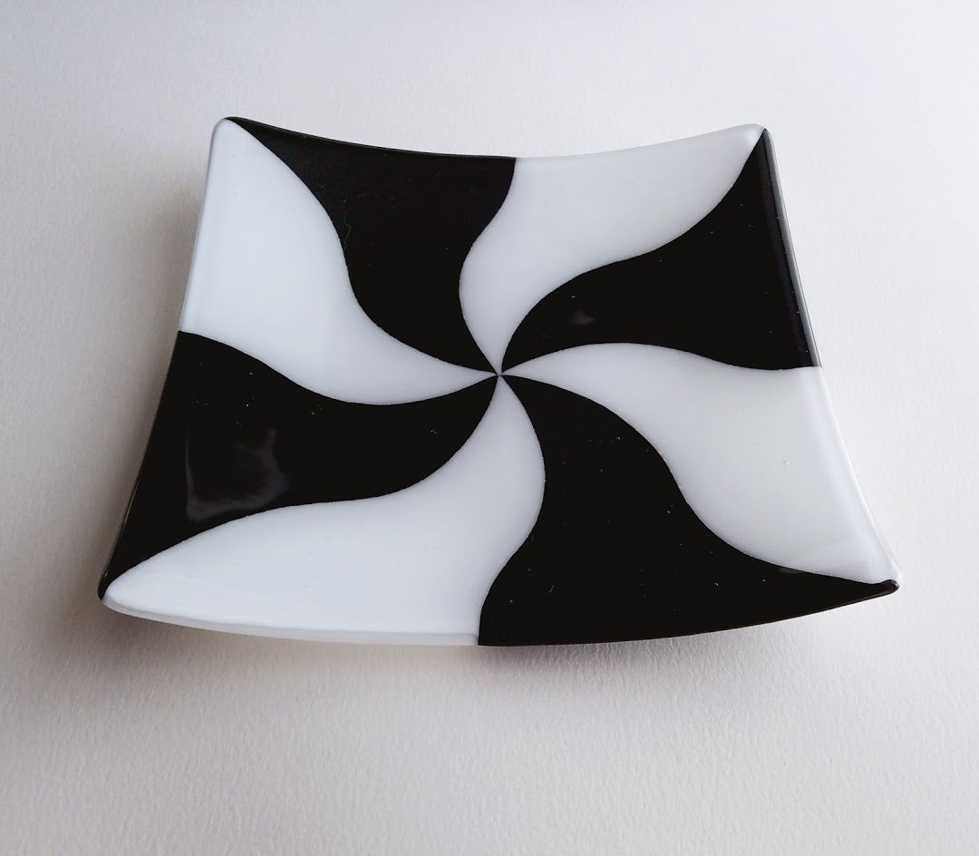 Fused Glass Square Plate Black White Swirl Wide Eyed Designs
