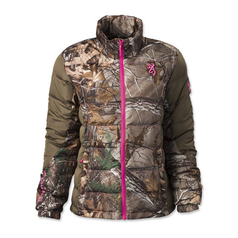 Browning Hell's Belles Blended Down Jacket Realtree Xtra/Tan, Medium