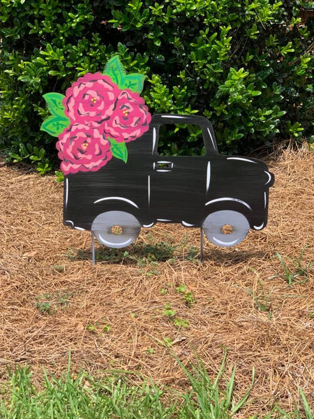 "Flower Truck 22x14"" door hanger or yard stake"