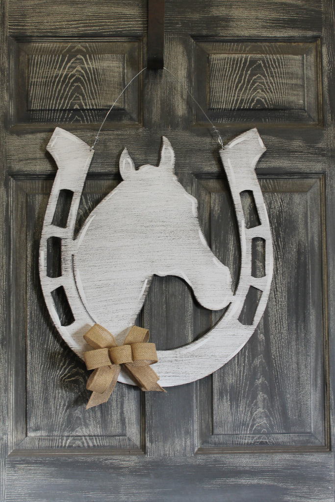 "24"" Horse shoe with horse doorhanger more colors available"