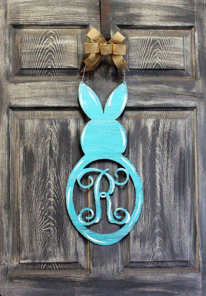 "Rabbit with Initial Doorhanger 24"" x 11"" More Colors Available"