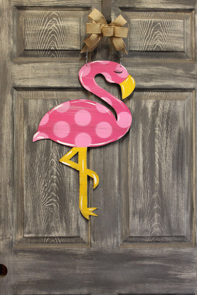 Flamingo door hanger or yard stake 22""
