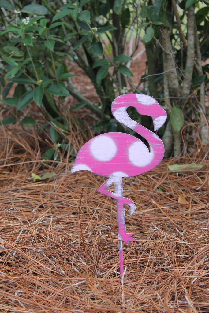 "10"" Flamingo yard stake"