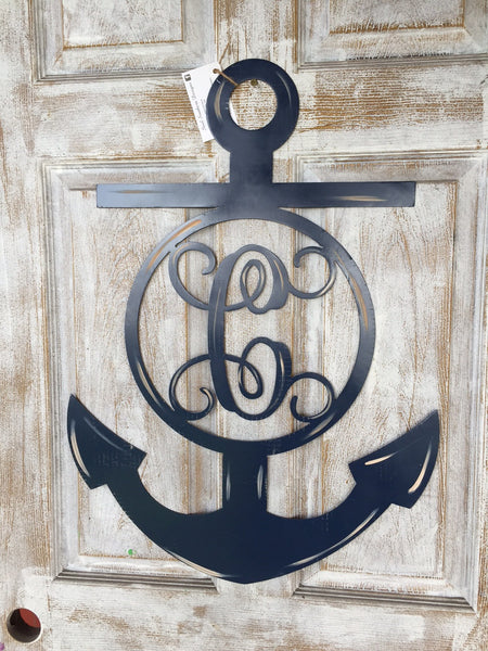 "Monogrammed Anchor Doorhanger 28""x20"" More Colors available"