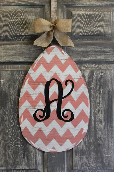 Egg door hanger or yard stake chevron more colors available 22x14""