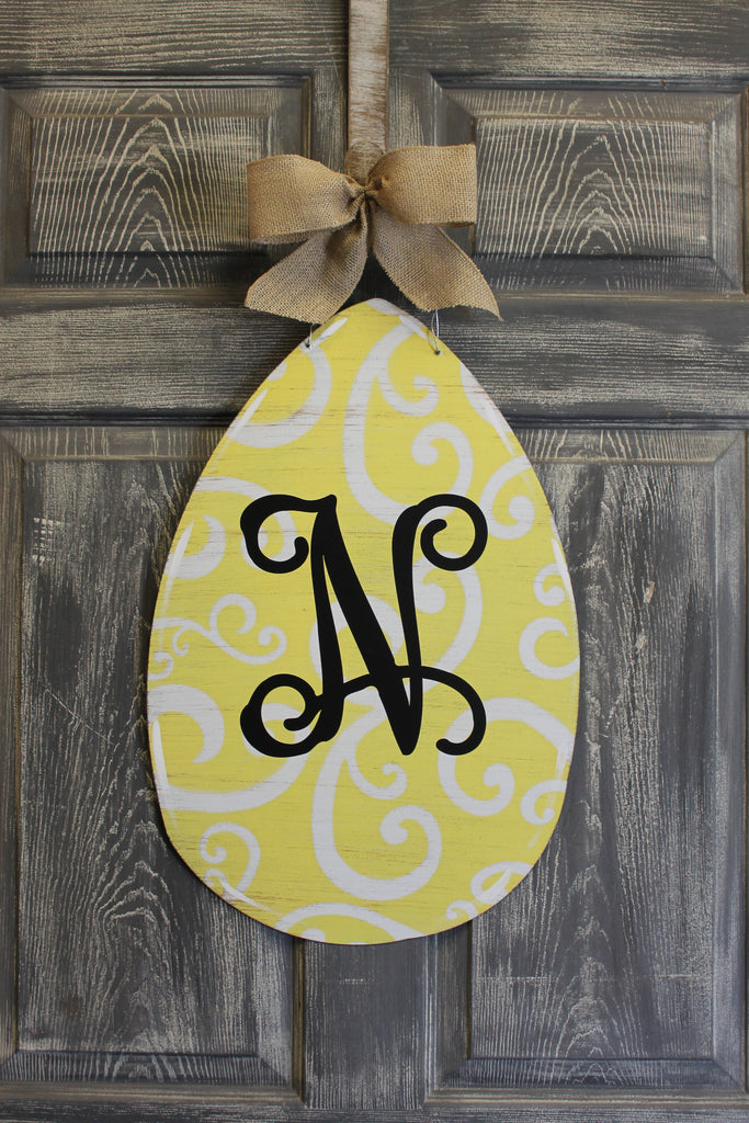 Egg door hanger or yard stake swirl more colors available 22x14""