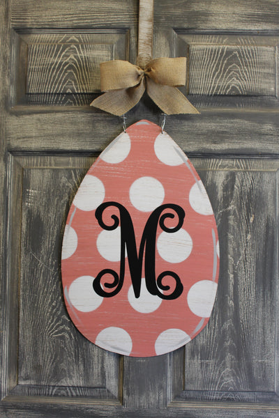 Egg door hanger or yard stake polka dot more colors available 22x14""