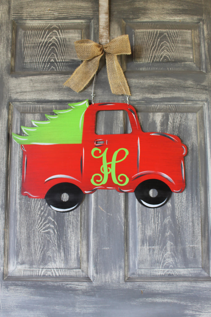 Christmas Truck door hanger or yard stake 22x14""