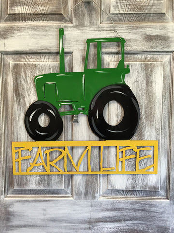 "Tractor With Farm Life Door Hanger/Yard Stake 23""x23"" More Colors Available"