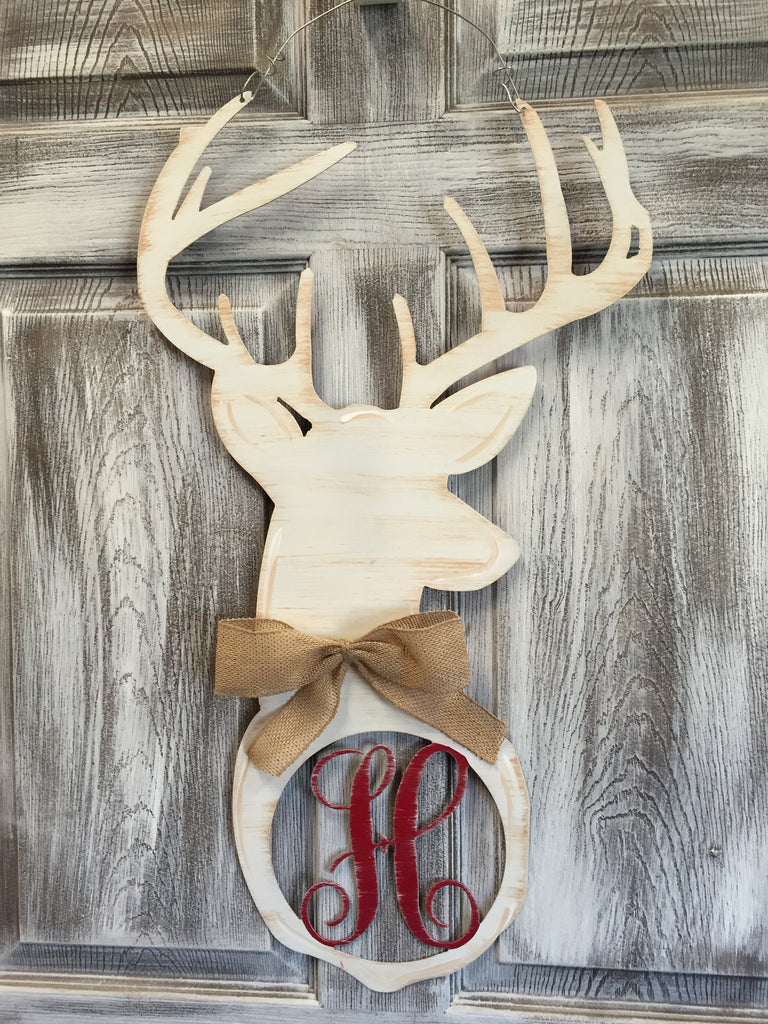 "Monogrammed Deer Head Doorhanger 24""x10"" More Colors Available"