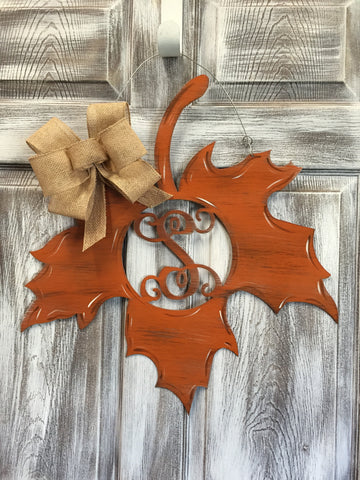"Mongrammed Leaf With Initial Doorhanger 22""x21"""