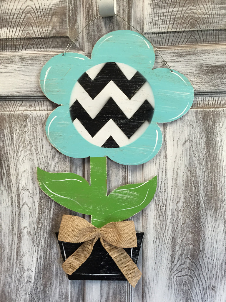 "Flower Pot Door Hanger and Yard Stakes 24""x15"" More Colors Available"