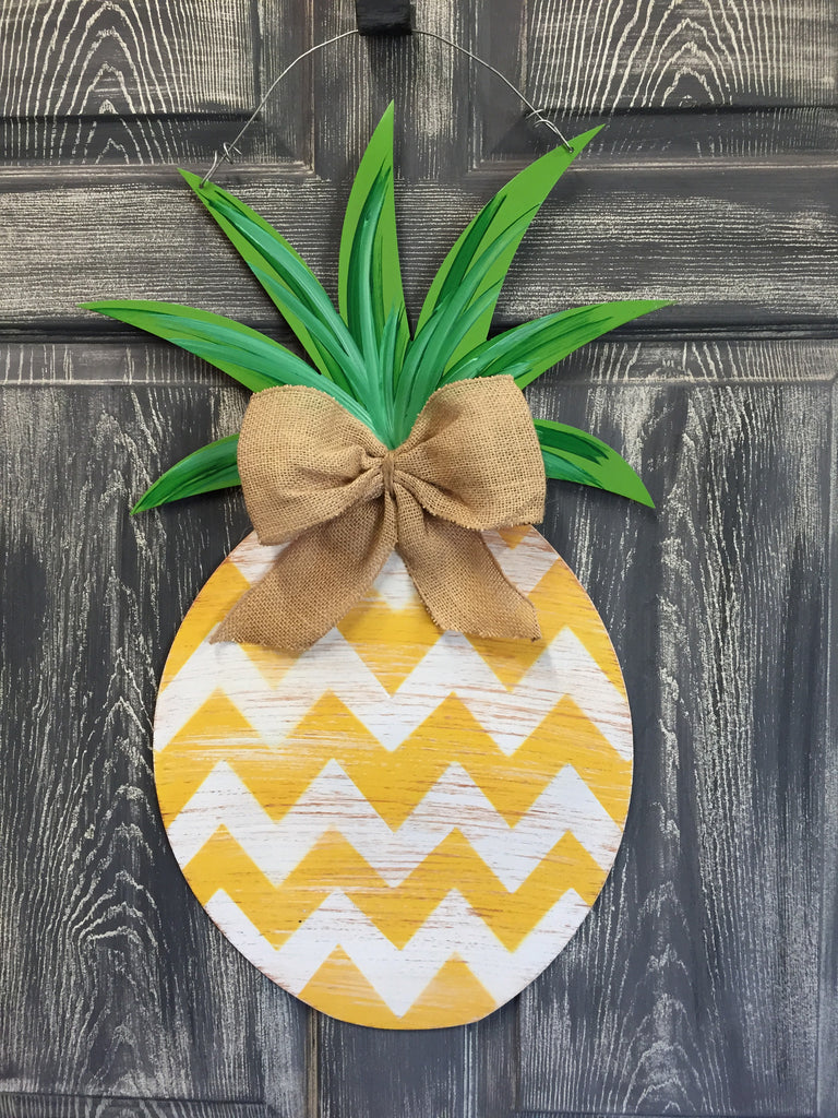 "Pineapple Door Hanger and Yard Stakes 25""x14"" More Designs Available"