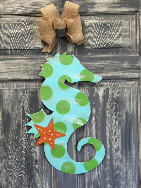 "Seahorse Door Hanger and Yard Stakes 22""x14"" More Colors available"