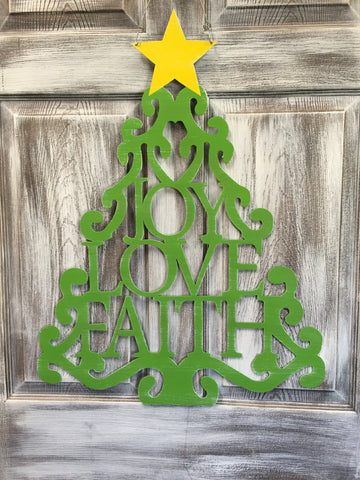 "Joy Love Faith Tree doorhanger 29""x22"" More Colors Available"