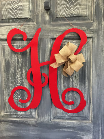 "Monogrammed Initial Doorhanger 24""x23"" More Colros Available"