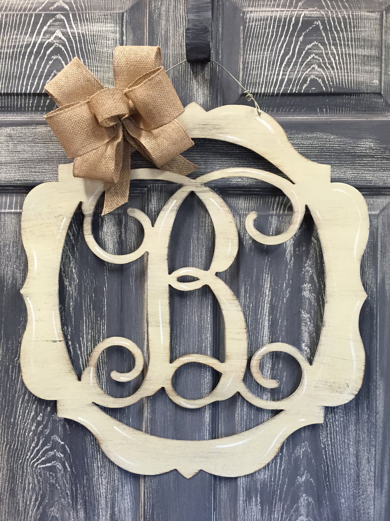 "Monogrammed Mirrored Initial Door Hanger 23""x21"" More Colors Available"