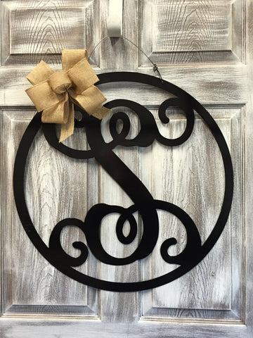 "Monogrammed Circle Initial Doorhanger 24"" More Colors Available"
