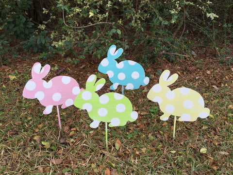 "10"" Rabbit Yard Stakes More Colors Available"