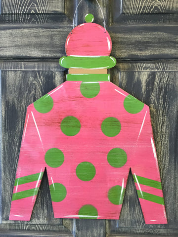 "Jockey Silk with Helmet Doorhanger  27""x21"" More Colors Available"