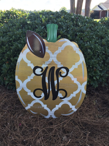 Pumpkin Door Hangers and Yard Stake with Monogram