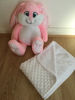 Gift set: personalised pink bunny and blanket