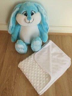 Gift set: personalised blue bunny and blanket