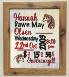Birth announcement - Framed wall hanging