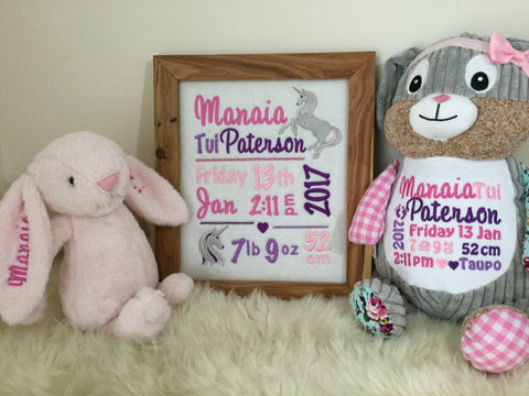 Gift set: personalised wall hanging, teddy and bunny