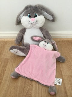 Grey bunny and snuggle blanket set - pink