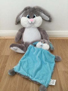Grey bunny and snuggle blanket set - blue