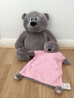 Grey bear and snuggle blanket set - pink